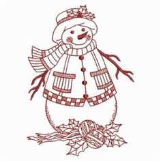 Ace Points Embroidery Design: Happy Redwork Snowman 3.80 inches H x 2.70 inches W