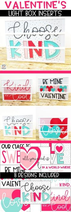 Valentine's Day Light Box Inserts. Fits the Heidi Swapp light box and Leisure arts walmart light box!