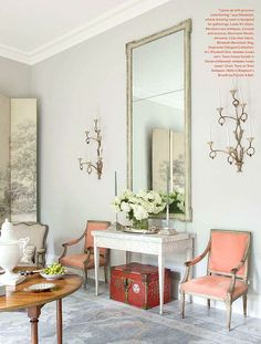 frank babb randolph living room french bergere chairs: Farrow and Ball – Elephant Gray. If you'd like a BENJAMIN MOORE EQUIVALENT, we can go to the chart and see that it's Sandlot Gray 2107-50.