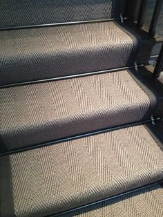 """Embedded image """"Taupe herringbone staircase runner installed in our studio love the bronze stair rods"""" Georgian Interiors, Georgian Homes, Victorian Homes, Up House, House Stairs, Staircase Runner, Stairs With Carpet Runner, Sisal Stair Runner, Striped Carpet Stairs"""