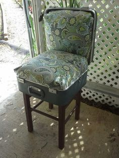 Suitcase chair- Vintage suitcase, chair bottom, handmade cushions