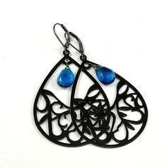 Electric Cobalt Blue Quartz Black Filigree Chandelier by ZionShore #fashion #jewelry #earrings