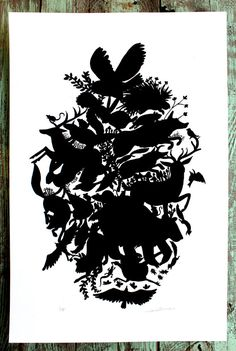 Forest Animal Silhouette Screen print