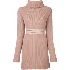 Valentino Valentino Belted Knitted Dress ($2,135) ❤ liked on Polyvore featuring dresses, long sleeve dress, funnel neck dress, short dresses, belted dress and longsleeve dress