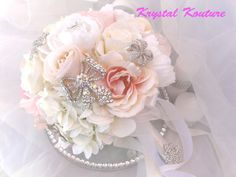 Soft, romantic vintage inspired brooch bouquet