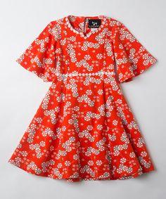 Loving this Orange Pinwheel Clementine Marguerite Dress - Toddler & Girls on #zulily! #zulilyfinds