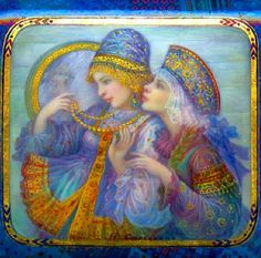 Russian lacquer miniature from the village of Fedoskino by Nadezhda Strelinka.