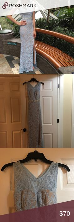 Lace Blue and Silver Evening Dress Excellent condition, just worn it once for about 3 hours. Perfect for a special occasion. Size 3. City Triangles Dresses Prom