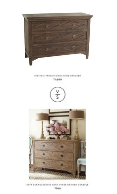@wisteriaonline  French Directoire Dresser $1,499 Vs @softsurrounding  Nora Three Drawer Console $699
