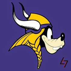 Minnesota Goofy Vikings : Disney characters as NFL logos Nfl Vikings, Minnesota Vikings Football, Nfl Football Helmets, Football Memes, Funny Nfl, Funny Sports, Dallas Cowboys Wallpaper, 32 Nfl Teams, Logo Character