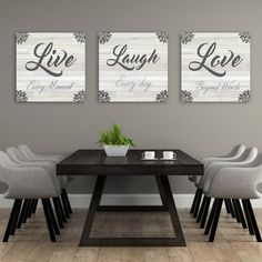 Live Laugh Love Wall Decor Add some love and character to home decor with this set of 3 canvases that say Live Laugh Love. Live Laugh Love Wall Decor Add some love and character to home decor with this set of 3 canvases that say Diy Wall Decor, Home Decor Wall Art, Diy Home Decor, Dining Wall Decor Ideas, Kitchen Wall Art Decor, Decor For Walls, Homemade Room Decorations, Wall Ideas, Kitchen Wall Decorations