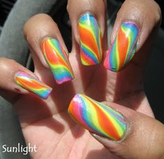 Double rainbow water marble nails.....WOW!!!    Check out the video on how to do it very fun!