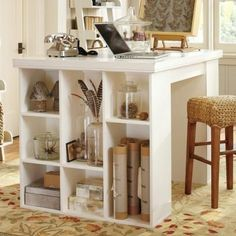 How to Make a Storage Cube Project Table {inspired by Pottery Barn}  I'm thinking I could do something similar for an island/eat-in bar for my kitchen.