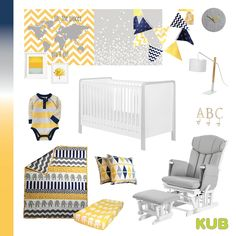 Yellow and Navy nursery colour theme with gender neutral grey baby furniture. Completed with Kub Dulcia white and grey cot bed and Kub Chatsworth gery nursing chair.