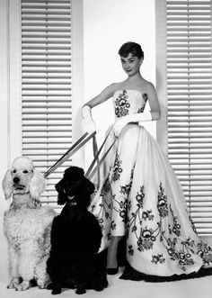 Audrey Hepburn wearing Givenchy, c.1954.