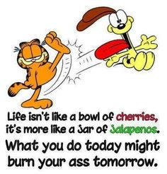 """""""Life isn't like a bowl of cherries, it's more like a jar of jalapenos. What you do today might burn your ass tomorrow."""" #Life"""