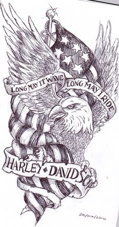 Long May It Wave Long May I Ride Banners And Eagle With Us Flag Tattoo Design Harley-Davidson