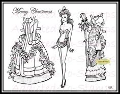 Christmas Fairy Marianne Mathiasen Digi Doodle Stamp Paper Dolls
