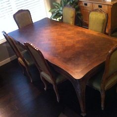 **Vintage** c1940 Louis XV Walnut Dining Table with Eight matching Chairs.   ***VERY RARE TO BE IN A FULL SET***  Solid Walnut Parquetry, Draw-leaf