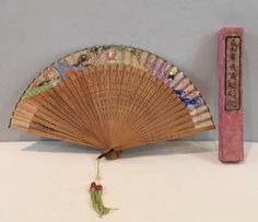 VTG-12-034-Wide-Carved-Pierced-Wood-Hand-Painted-Chinese-Hand-Fan-Tassels-w-Box-EUC