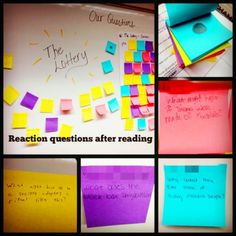 """Students' reactions after reading """"The Lottery"""" by Shirley Jackson---short stories at the start of the year"""