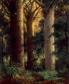 Cathedral Kauri, Waitakare, painted by Charles Blomfield (1848–1926)