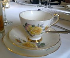 Posh gold-rimmed teacups at my cousin's wedding... Lytham, St Anne's.