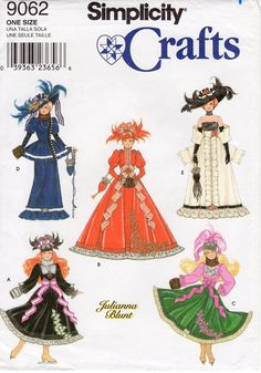 Crochet Toys Barbie Clothes Sewing Pattern Simplicity Crafts 9062 - Historical Clothes for 11 inch Fashion Dolls - UNCUT - Barbie Sewing Patterns, Doll Dress Patterns, Vintage Dress Patterns, Simplicity Sewing Patterns, Clothing Patterns, Vintage Dresses, Doll Clothes Barbie, Barbie Dolls, Barbie Stuff