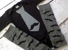 Mustache Tie bodysuit and leg warmers set, one piece, Initial, age number, t-shirt, baby boy, shower gift, birthday, one sie, photo prop,