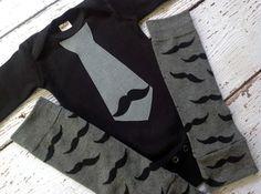 Mustache tie onesie and leg warmers set!
