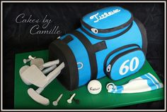 Sculpted Titleist golf bag, great idea for groom's cake