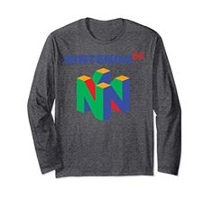 Nintendo 64 Classic Logo Retro Vintage Long Sleeve Tee #clothing #tshirt #fashion Retro Nes, Retro Logos, Nintendo 64, Hoodies, Sweatshirts, Retro Vintage, Long Sleeve Shirts, Classic, Sleeves
