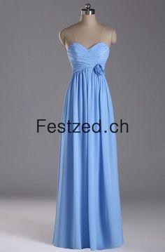 A-Linie Herzausschnitt Bodenlang Blau Chiffon Abendkleider