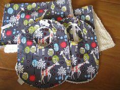 Neutral Grey Giraffe Garden by Michael Miller Bib and Burp Cloth Set - Set of 2 Bibs & 2 Burp Cloths $40