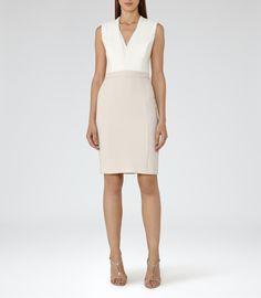 Womens Off White/champagne Block-colour Dress - Reiss Lourdes