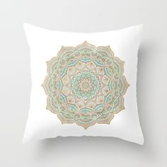 Gold mandala cushion. Throw Pillow made from 100% spun polyester poplin fabric, a stylish statement that will liven up any room. Individually cut and sewn by hand, each pillow features a double-sided print and is finished with a concealed zipper for ease of care.  Sold with or without faux down pillow insert.