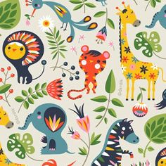 "I love how Helen has put a twist on the old childhood theme of jungle animals. My favourite is the giraffe who's star-spotches are too cute! ""Orange You Lucky"""