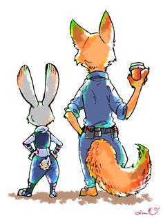 Zootopia - Nick Wilde x Judy Hopps - Wildehopps Disney Zootropolis, Disney Fan Art, Cute Disney, Disney Stuff, Studio Disney, Zootopia Nick And Judy, Walt Disney Characters, Zootopia Art, Judy Hopps