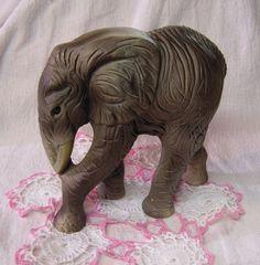 Vintage Grey Brown Elephant Figurine made in Japan Ceramic 1950s