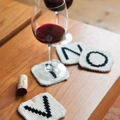 Have a love for wine? Knit some coasters for your next party with this free pattern.