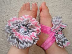 Baby Barefoot Sandals - Pink and Grey Chevron Piggy Petals - Toe Blooms - Baby Sandals - Baby Shower Gift - Toddler Sandels - Baby Shoes on Etsy, $6.45