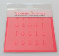 ANCHORS Stencil, Cookie Countess, Cookie Stencil/Cupcake StencilStencil for Cookies,  Cakes, Cupcakes, and more  SIZE: Approximately 5.5 x 5.5. PINK sections in image are the open sections. Stencils are 5mil Food Grade plastic, washable and reusable.  Made in the USA!! Great for Cupcakes, Cookies, Stenciling on Fondant, Etc