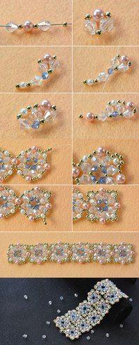 flower beaded bracelet, wanna it Beaded Bracelets Tutorial, Beaded Bracelet Patterns, Seed Bead Bracelets, Gold Bracelets, Seed Bead Tutorials, Jewelry Making Tutorials, Bead Jewellery, Seed Bead Jewelry, Seed Beads
