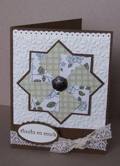 Pinwheel.  SU; Three Little Words set, petals a plenty EF, square punch, ribbon border punch.
