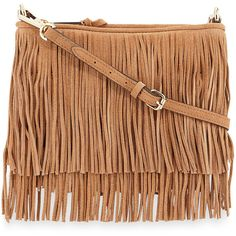 Rebecca Minkoff Finn Fringe Suede Crossbody Bag ($195) ❤ liked on Polyvore featuring bags, handbags, shoulder bags, purses, beige handbags, crossbody handbags, crossbody purse, fringe crossbody and fringe purse