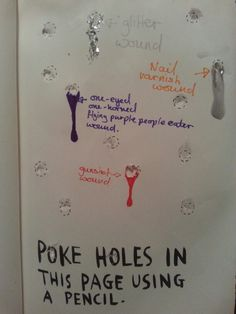 Wreck this journal - poke holes in this page using a pencil - Tasha Nelson