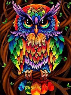 Wise Rainbow Owl Hippie Diamond Painting Kit makes stunning diamond art for home decoration! This DIY diamond painting kit has everything you need to create Owl Artwork, Owl Wallpaper, Owl Pictures, Diamond Art, Diamond Rings, 5d Diamond Painting, Arte Pop, Bird Art, Art Drawings