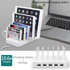 Exqusite Power Hub 5 Multi Charger Dock With 5 USB Port 10.6A For Iphone Ipad Samsung Tablet HTC Universal Docking Station