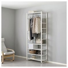IKEA - ELVARLI, Shelf unit, white, You can always adapt or complete this open storage solution as needed. Maybe the combination we've suggested is perfect for you, or you can easily create your own. One clothes rail holds about shirts on hangers. Storage Shelves, Storage Spaces, Closet Shelving, Closet Storage, Ikea Elvarli, Closet Ikea, Tiny Closet, White Closet, Clothes Storage Systems