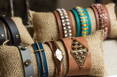 Photograph bracelets on a display pillow to make it easier…